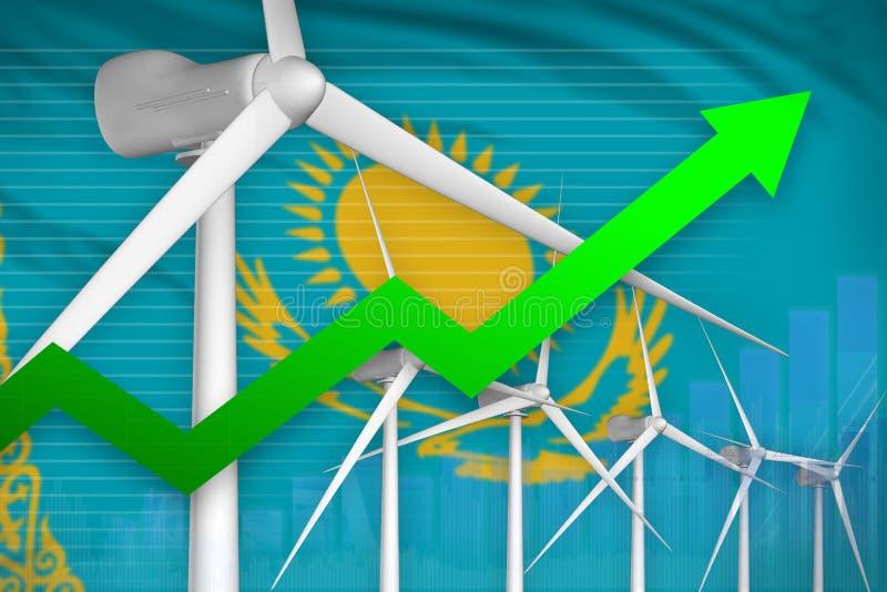 Steigendes Diagramm der Kasachstan-Windenergie-Energie, Pfeil herauf - auswechselbare industrielle Illustration der natürlichen E lizenzfreie abbildung
