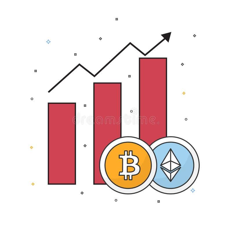 Steigendes Diagramm von cryptocurrencies mit bitcoin vektor abbildung
