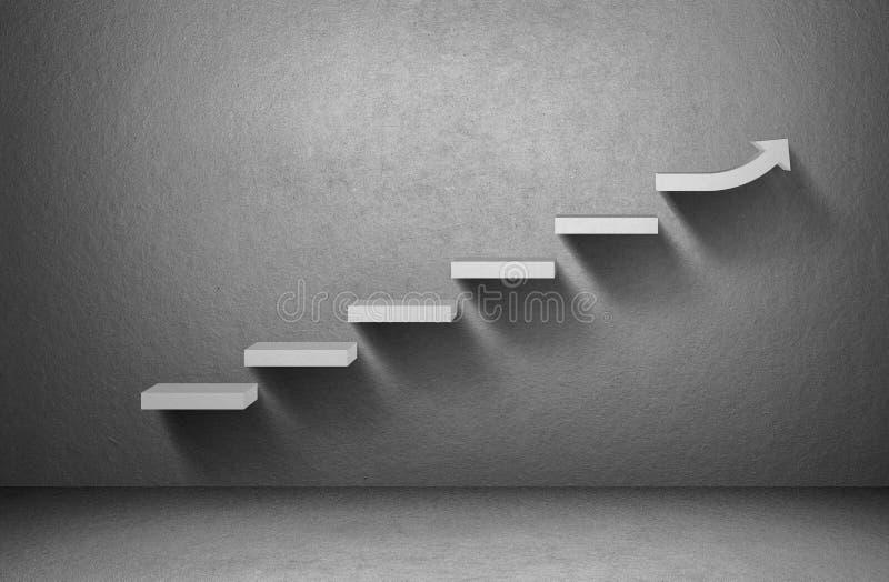 Steigendes Pfeildiagramm auf Treppenhaus auf grauem Hintergrund vektor abbildung