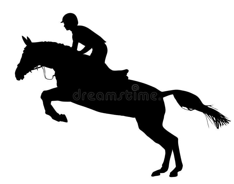 Steiger zwarte geïsoleerde het silhouet vectorillustratie van de paard witj jockey stock illustratie