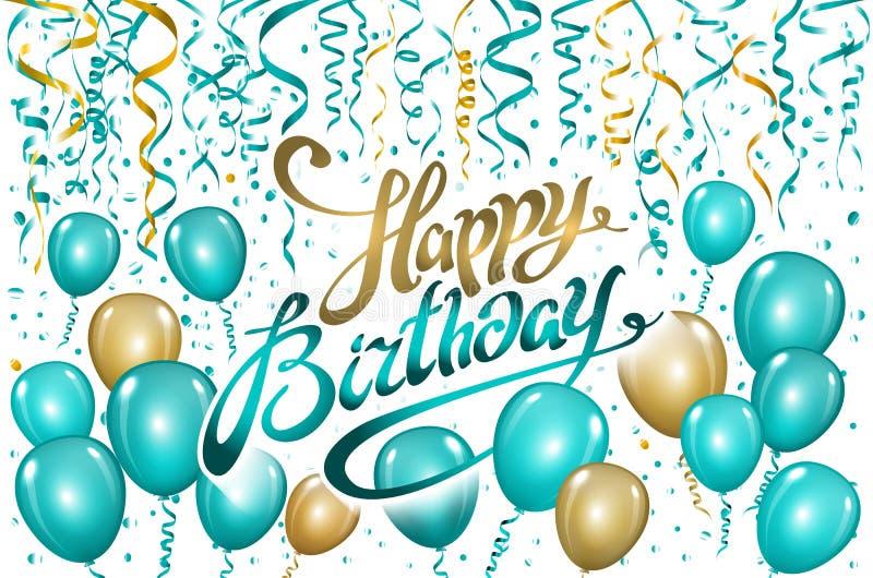 Steigt alles Gute zum Geburtstag auf Schwarzem im Ballon auf Goldblauer Ballon funkelt Feiertagshintergrund Glück-Geburtstag zu I vektor abbildung