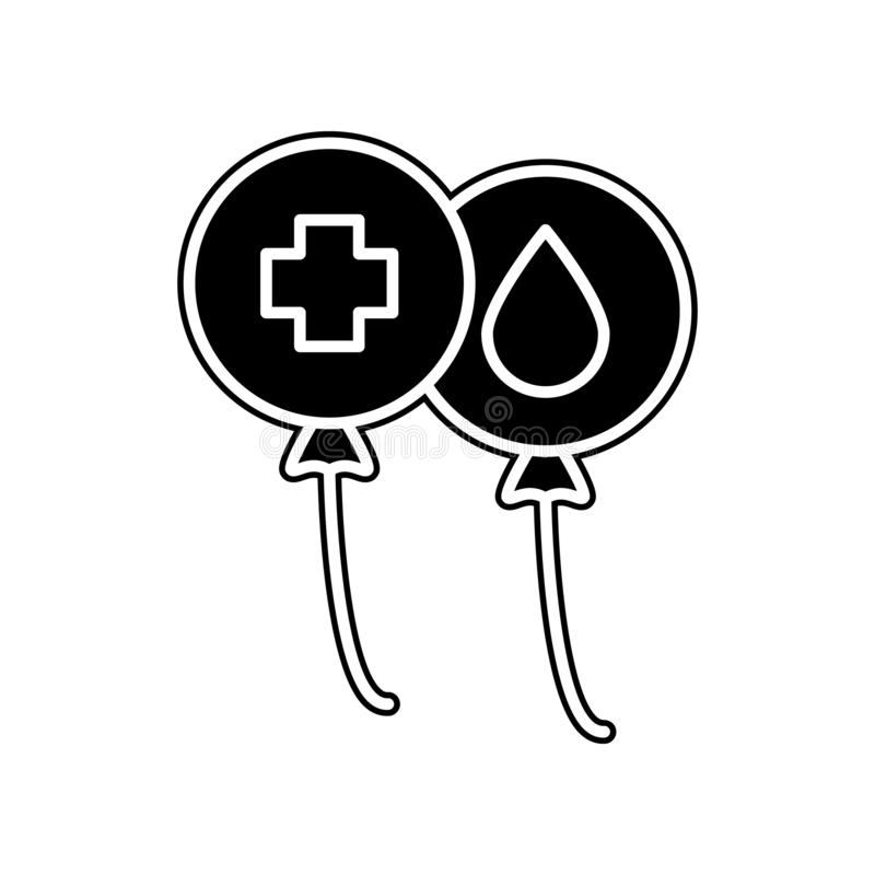 steigt Blutspendenikone im Ballon auf Element der Blutspende für bewegliches Konzept und Netz Appsikone Glyph, flache Ikone für W lizenzfreie abbildung