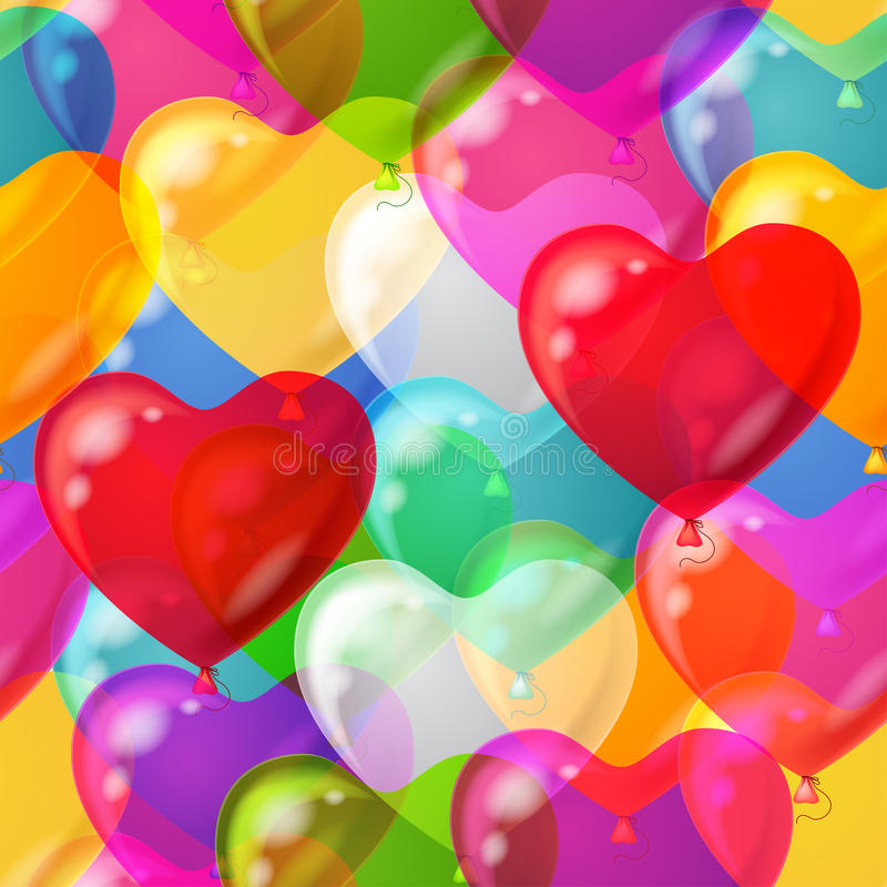 Steigt den nahtlosen Herzhintergrund im Ballon auf vektor abbildung