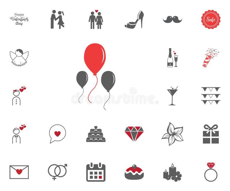 Steigt Ikone im Ballon auf Valentinsgruß-Tag-illustraticons eingestellt stock abbildung