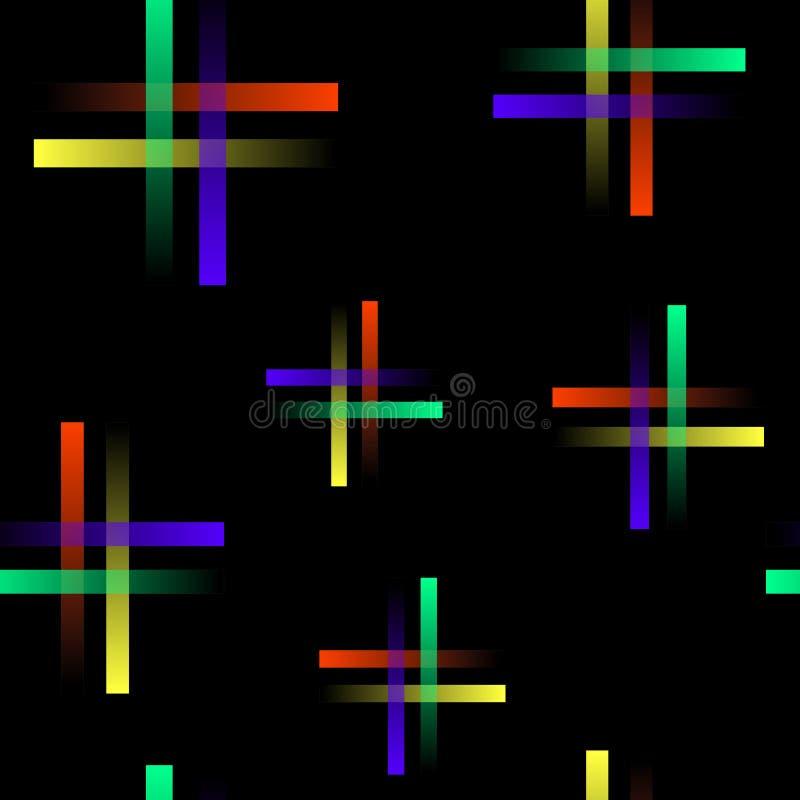 Steigung färbte Linien auf schwarzem Hintergrund, nahtloses Muster, Vektor lizenzfreie abbildung