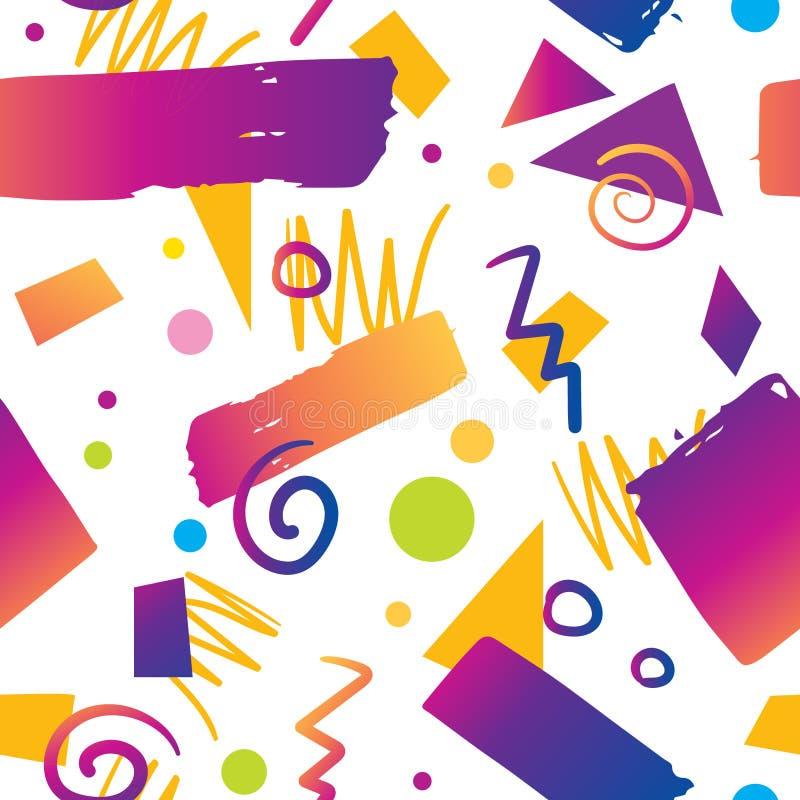 Steigungsart des Farbnahtlose Musterhintergrundes 90s lizenzfreie abbildung