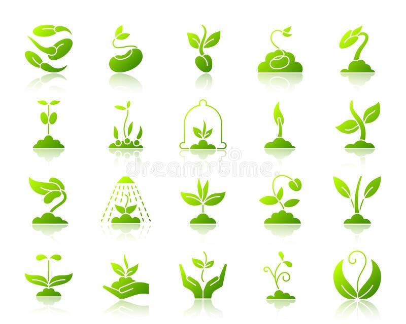 Steigungsikonen-Vektorsatz des Sprösslings einfacher grüner stock abbildung