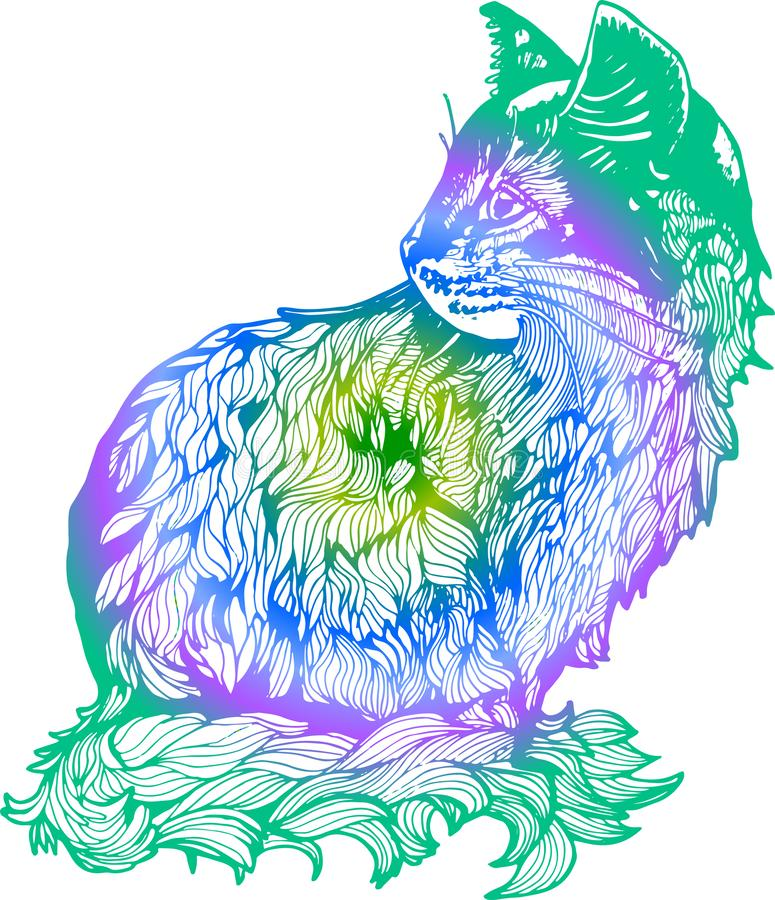Steigungsillustration einer Katze im Profil Schwarzweiss-Zeichnung einer Katze vektor abbildung