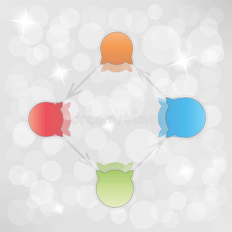 Steigungskreispfeile mit Blasen vektor abbildung