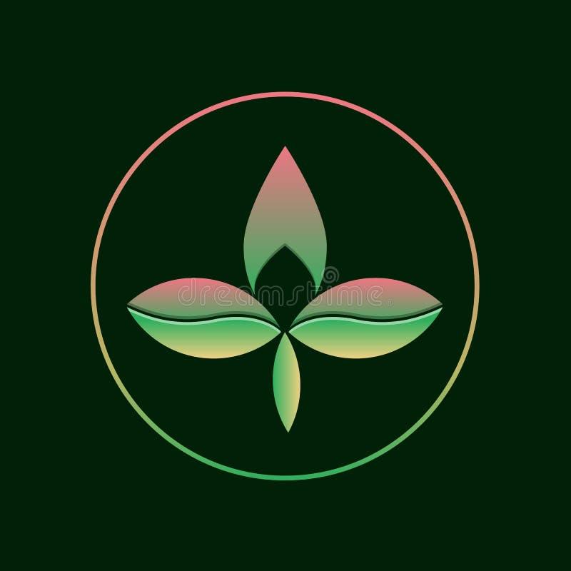 Steigungslogo mit drei Blättern Abstraktes eco Firmenzeichenkonzept stockfotos