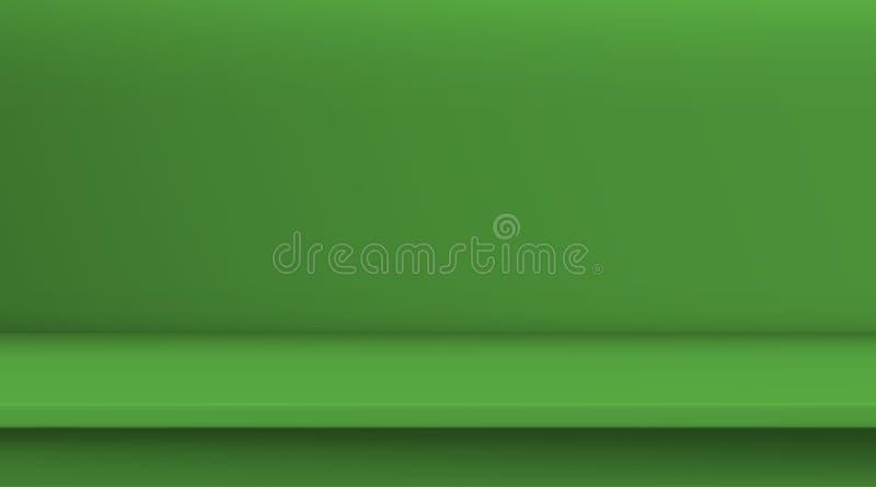 Steigungsmaschen-Vektortabelle Hintergrund der leeren klaren gr?ne Farbtabelle, Studioraum annoncieren f?r Ihre Gesch?ftsprodukte vektor abbildung