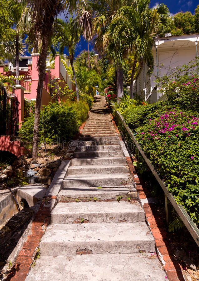 Steile 99 stappen in St Thomas royalty-vrije stock afbeeldingen