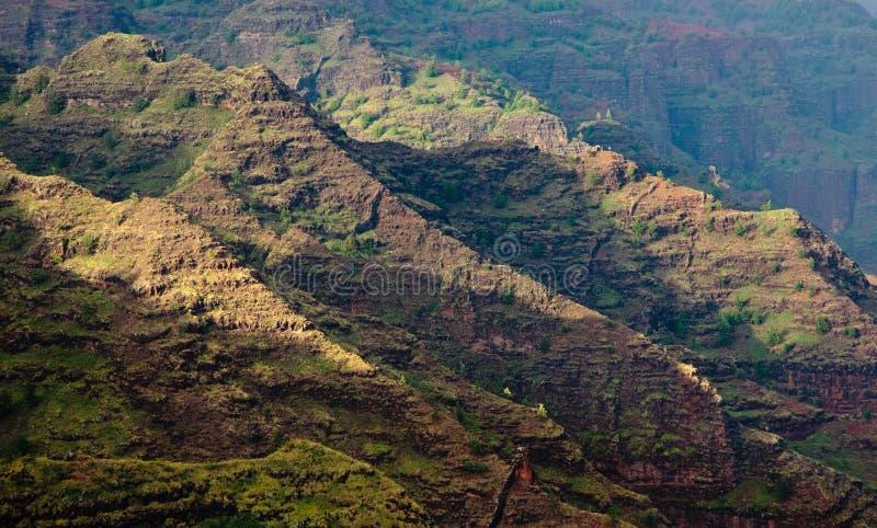 Steile rotsen in Canion Waimea stock afbeelding