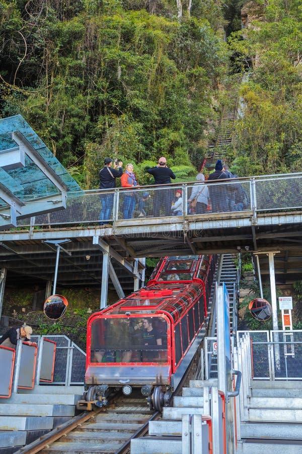 Steile szenische Eisenbahn in den blauen Bergen, Australien stockbild