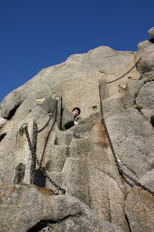 Steiler Pfad herauf Bergabhang stockbilder