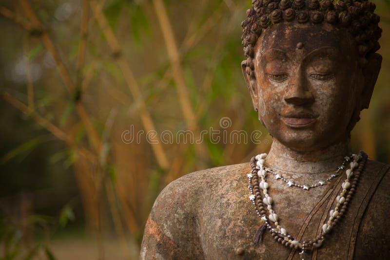 Stein-Buddha-Statuen-Porträt-Fehlschlag-Bambus lizenzfreies stockbild