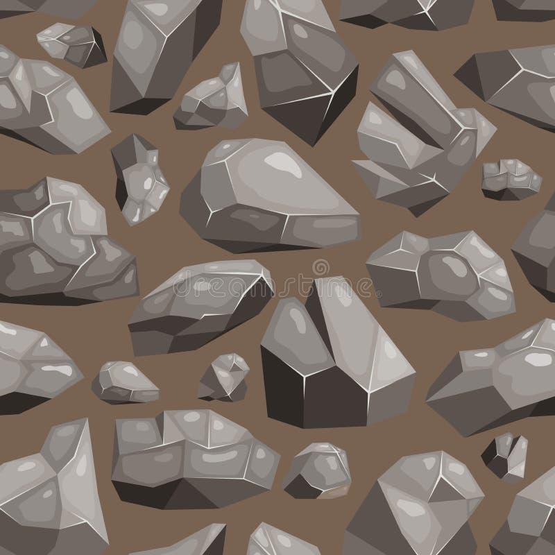 Stein- Felsenvektor rockstone Berg oder felsige Klippe mit steinigen Materialien von Geologie in Rocky Mountains-Gebirgs-stonines lizenzfreie abbildung