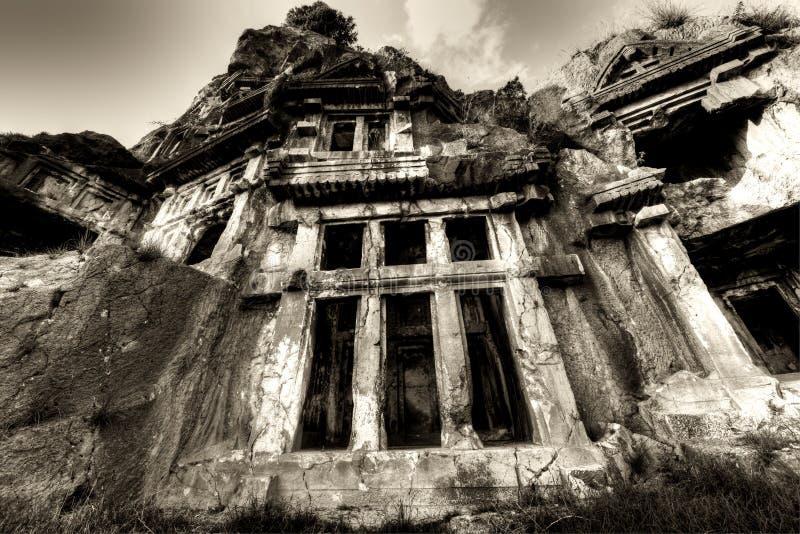 Stein-geschnittene Gräber der alten Stadt von Myra stockbild
