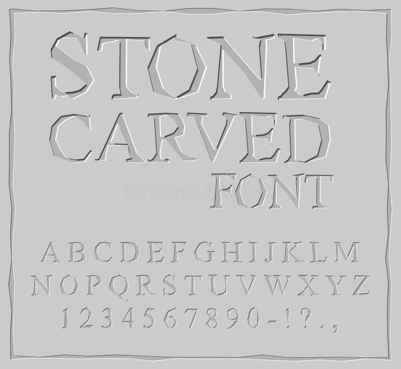 Stein geschnitzter Guss Alphabet auf Felsenplatte Chips und Kratzer lizenzfreie abbildung