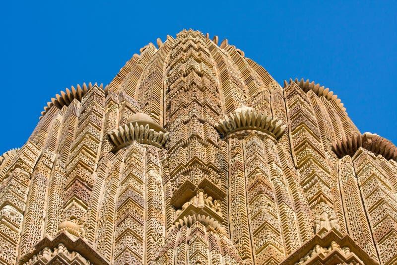 Stein geschnitzter Tempel in Khajuraho, Indien stockfotos