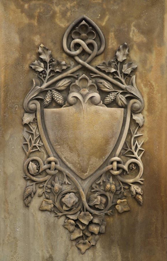 Stein geschnitztes Schild lizenzfreies stockbild