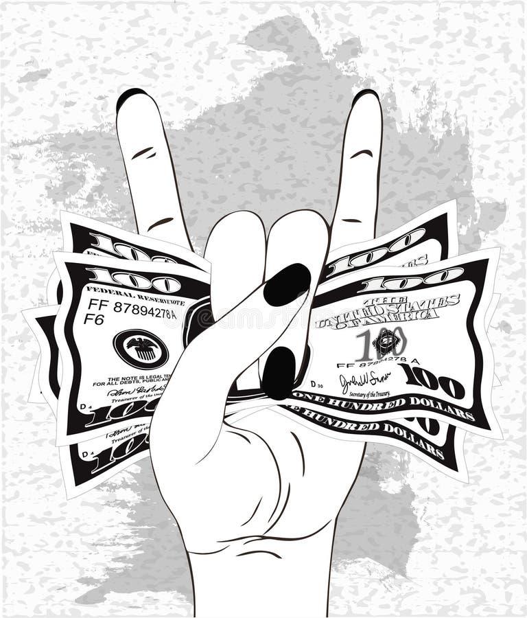 Stein-n-Rollenhandzeichen mit zerknittert hundert Dollar auf strukturiertem Hintergrund mit grauer Farbe vektor abbildung