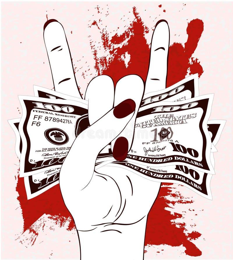 Stein-n-Rollenhandzeichen mit zerknittert hundert Dollar auf strukturiertem Hintergrund mit roter Farbe lizenzfreie abbildung