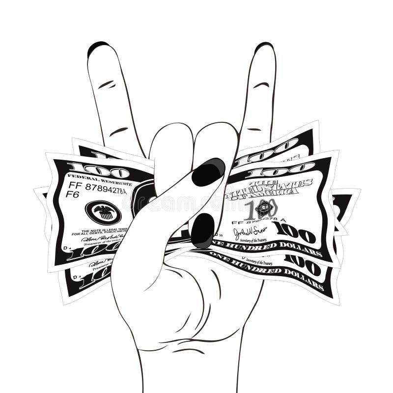 Stein-n-Rollenhandzeichen mit zerknittert hundert Dollar auf weißem Hintergrund lizenzfreie abbildung