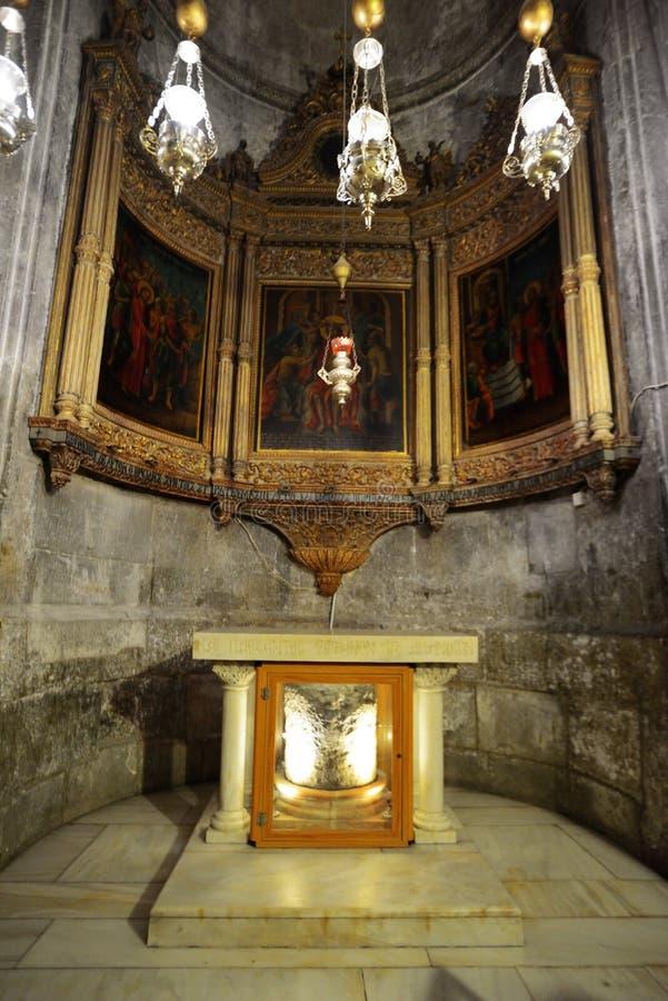 Stein von Scourging von Jesus Heilig begraben Sie Kirche stockbild