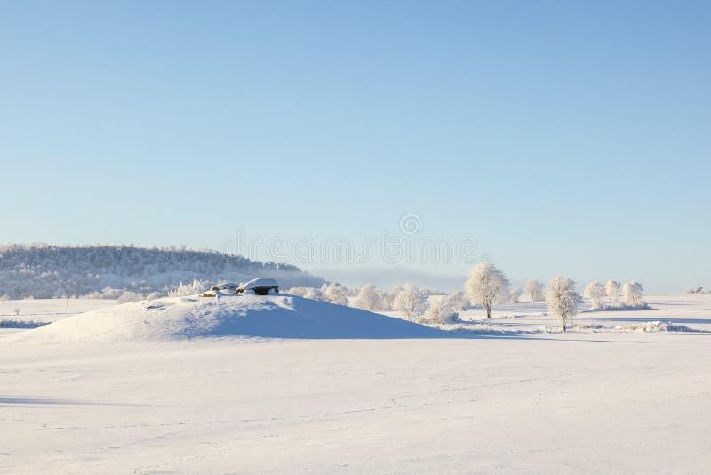 Steinaltergrab auf einem Hügel in einer wunderschönen Winterlandschaft stockfotografie