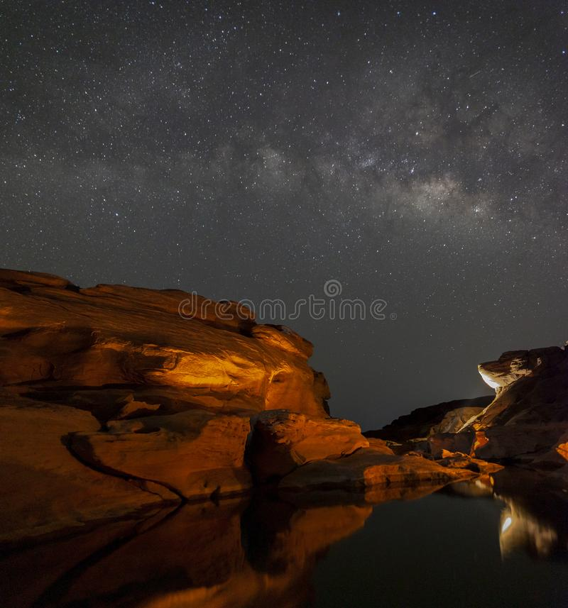 Steinansicht mit Milchstraße bei Sam Phan Bok, Thailand lizenzfreie stockbilder