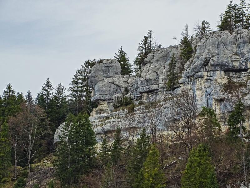 Steinbildungen mögen ein großes Gesicht in der Region von Doubs stockfotografie