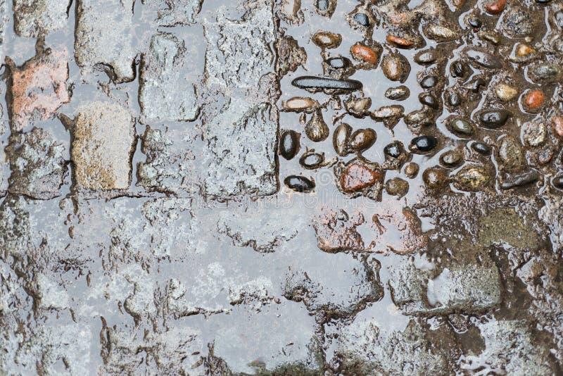 Steinboden mit Regen stockbilder