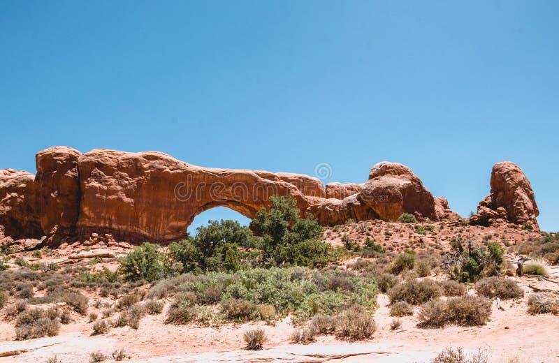 Steinbogen Nordfenster Bögen Nationalpark, Utah, Vereinigte Staaten lizenzfreie stockbilder