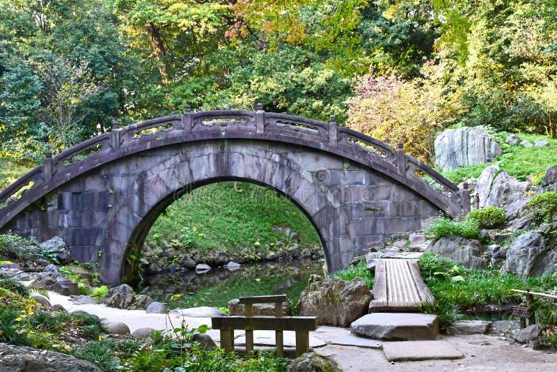 Steinbrücke an  Koishikawa KÅ rakuen Garten, Tokyo stockbild