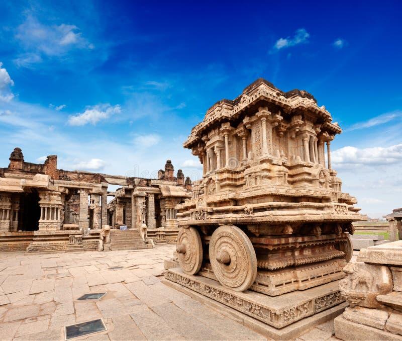 Steinchariot im Vittala Tempel. Hampi, Indien lizenzfreies stockfoto
