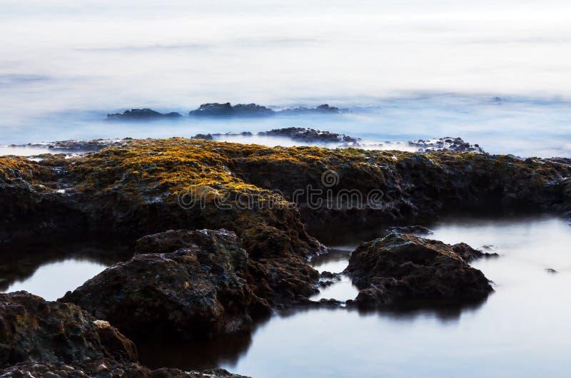 Steine durch das Meer am Abend lizenzfreies stockfoto