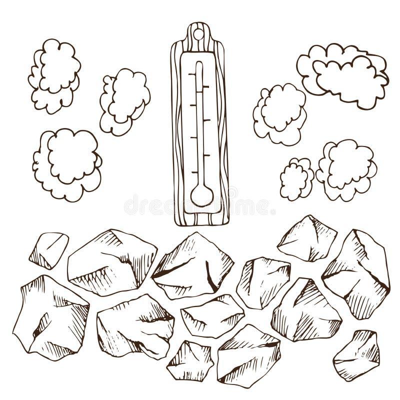 Steine für Saunaofen, Dampf bewölkt sich, Thermometer für russisches Bad für Körperhygiene Satz Zubehör für Bad, Sauna stock abbildung