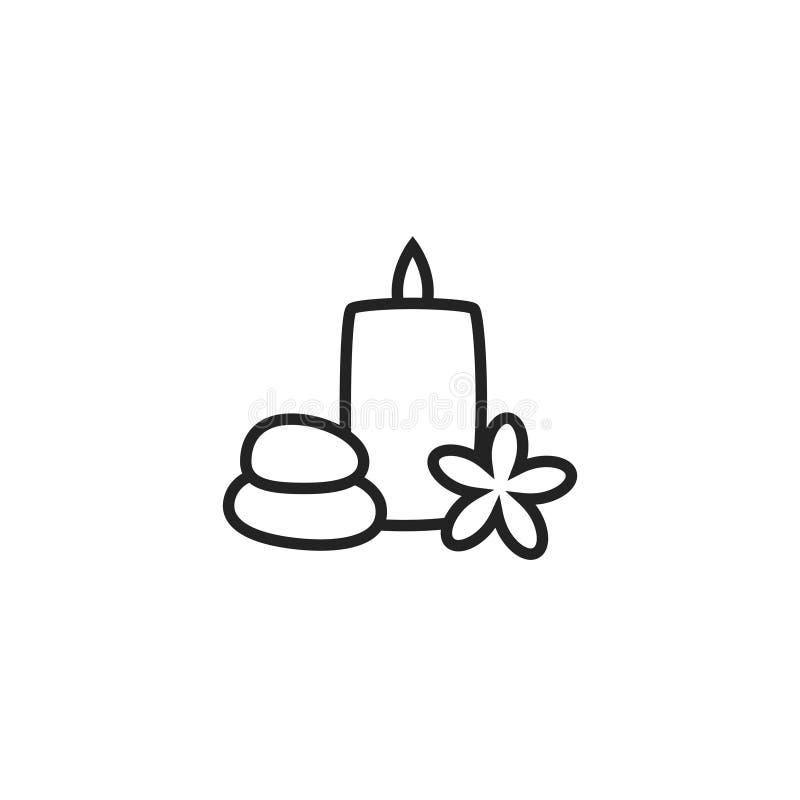 Steine, Kerzen-und Plumeria Oultine-Vektor-Ikone, Symbol oder Logo stock abbildung
