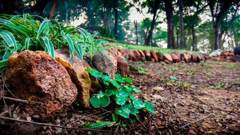 Steine neben der Straße stockfoto