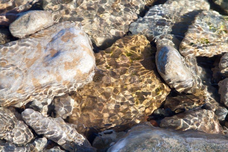Steine unter dem Wasser stockbild