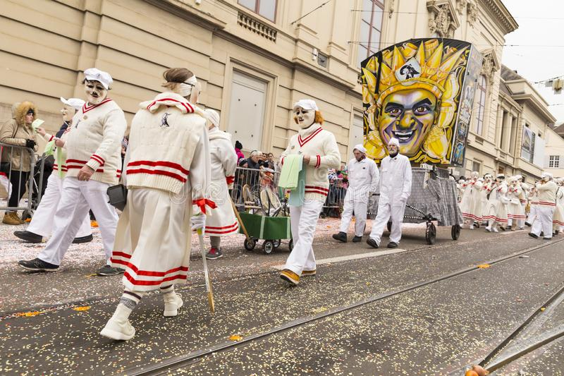 Basel carnival 2018 - Group in old style tennis dresses royalty free stock image