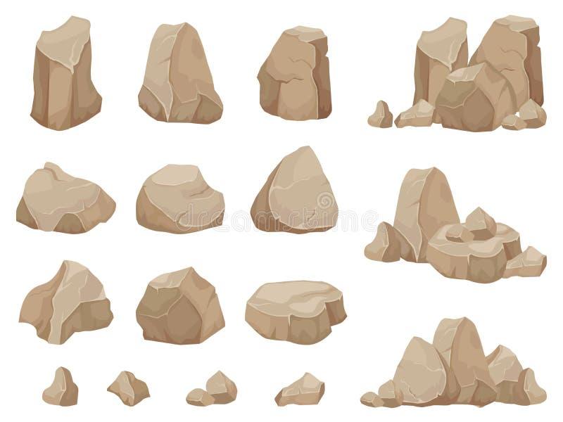 Steinfelsen Steine Flussstein, Kiesschutt und Stapel lokalisierten Vektorsatzes der Felsen des Karikatur lizenzfreie abbildung