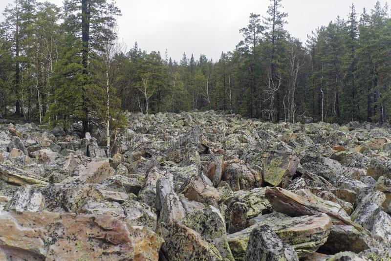 Steinfluß im Ural lizenzfreie stockfotografie
