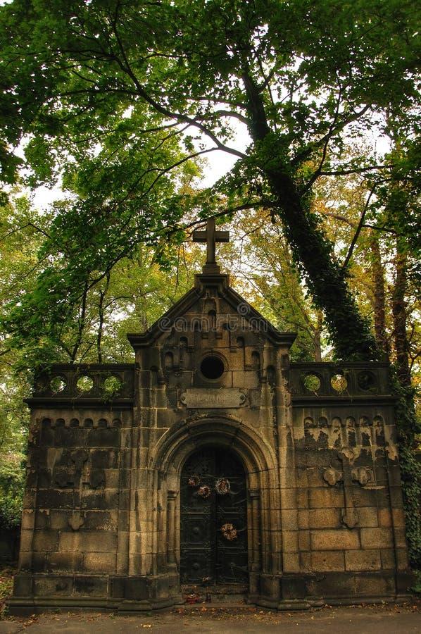 Steingrab auf Olsany-Kirchhof in Prag lizenzfreies stockbild