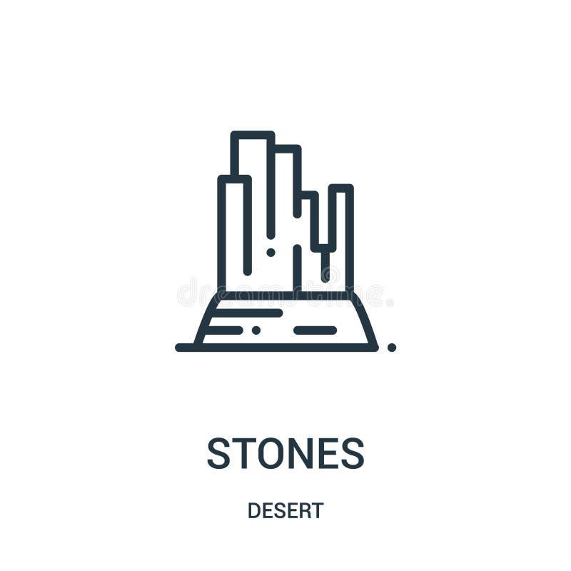 Steinikonenvektor von der Wüstensammlung Dünne Linie Steinentwurfsikonen-Vektorillustration Lineares Symbol für Gebrauch auf Netz stock abbildung