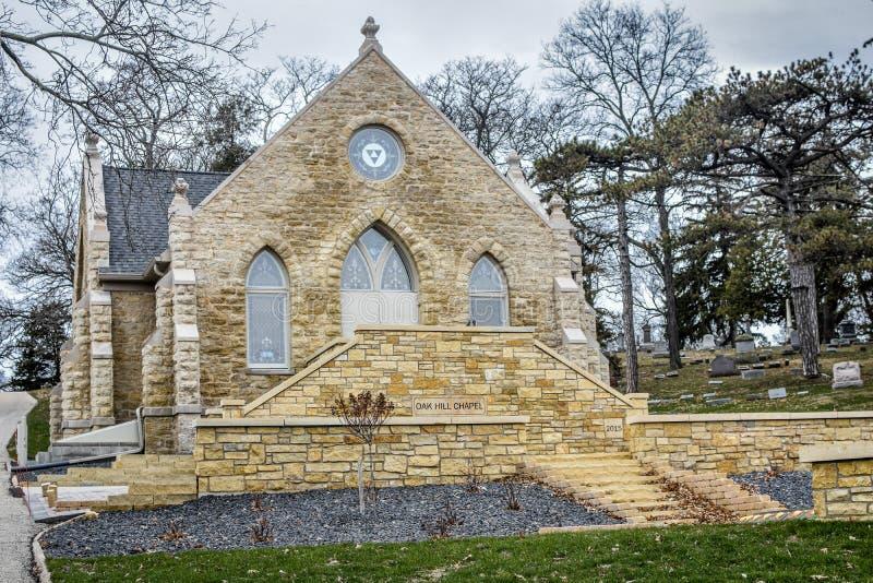 Steinkapelle - Oakhill-Kirchhof - Janesville, WI stockbild