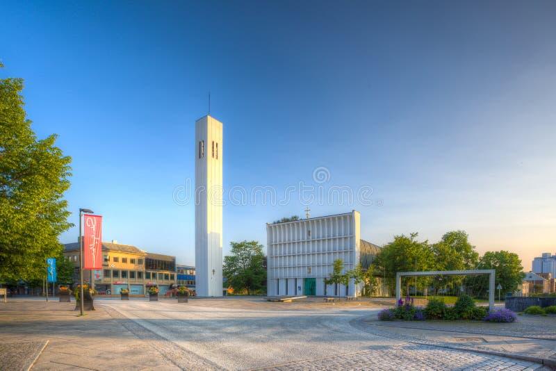 Steinkjer-Kirche in der Mitte der Stadt lizenzfreies stockfoto