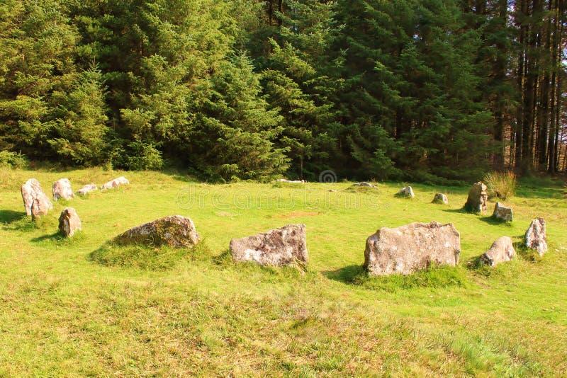 Steinkreis auf Dartmoor stockfotos