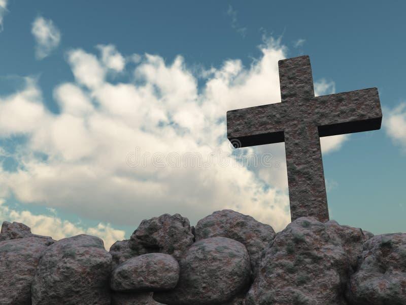 Steinkreuz unter bewölktem Himmel vektor abbildung